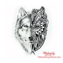 Load image into Gallery viewer, Mandala wolf tattoo design