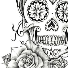 Load image into Gallery viewer, Mexican skull and roses tattoo design digital download by tattoo artists