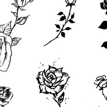 Load image into Gallery viewer, amazing minimalist roses under boob side boob tattoo design