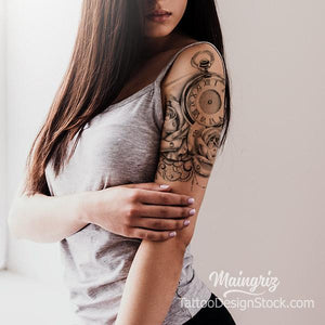 rose and clock with lace tattoo design model