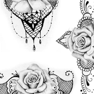 rose and pearl with lace digital tattoo design ideas