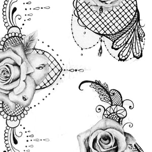 originals roses and pearl with lace digital tattoo design references