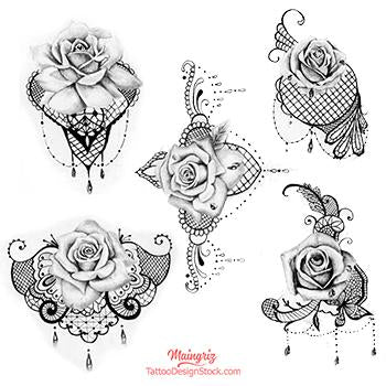 5 rose and pearl with lace digital tattoo design references