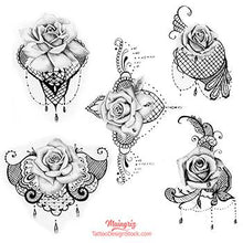 Load image into Gallery viewer, 5 roses and lace tattoo design high resolution download by tattoo artist