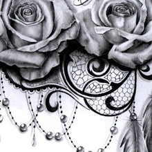 Load image into Gallery viewer, rose lace with feathers and pearls tattoo design digital download