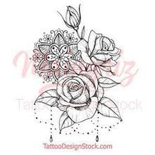 Load image into Gallery viewer, roses and pearls tattoo designs references
