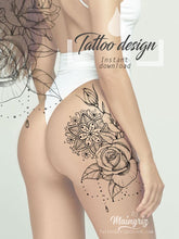 Load image into Gallery viewer, Rose and pearls mandala tattoo design references