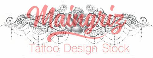 rose with lace garter download tattoo design