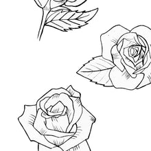 Load image into Gallery viewer, 5 linework minimalist roses digital tattoo design references