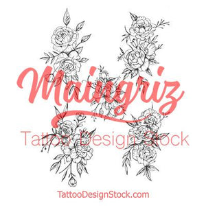 sexy roses linework tattoo design  high resolution download