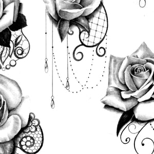 rose with lace and pearl tattoo design high resolution download by tattoodesignstock.com