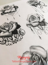 Load image into Gallery viewer, rose and lace tattoo design high resolution download by tattoo artist