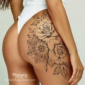 sexy oriental roses mandalas sexy girls tattoo ideas