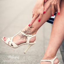Load image into Gallery viewer, sexy flowers foot tattoo design high resolution download
