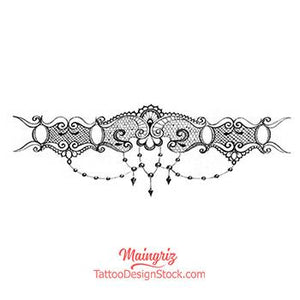 original lace garter with pearl tattoo design by tattoo artist