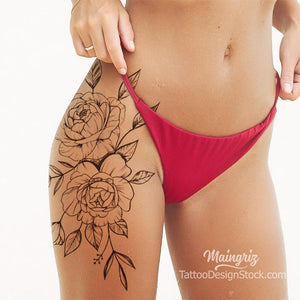 2 sexy roses leg tattoo design high resolution download