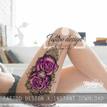 Load image into Gallery viewer, sexy rose with lace and pearl tattoo by tattoodesignstock