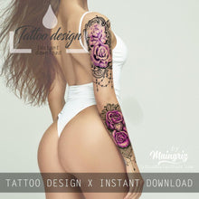 Load image into Gallery viewer, sexy lace purple roses tattoo design for sleeve