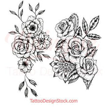 Load image into Gallery viewer, amazing roses line work tattoos for woman