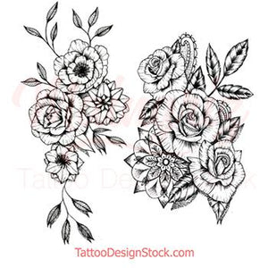 amazing roses line work tattoos for woman