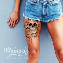 Load image into Gallery viewer, Skull roses and lace - download tattoo design
