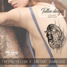 Load image into Gallery viewer, Realistic tiger with heart tattoo design high resolution download