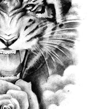 Load image into Gallery viewer, tiger and realistic rose tattoo design references
