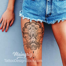 Load image into Gallery viewer, sexy oriental mandala leg tattoo design references