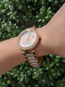 Michael Kors Pink and Gold Watch