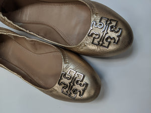 Tory Burch Gold Flats Size 9
