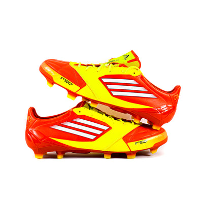 Adidas F50 Adizero Leather Red Yellow FG - Classic Soccer Cleats