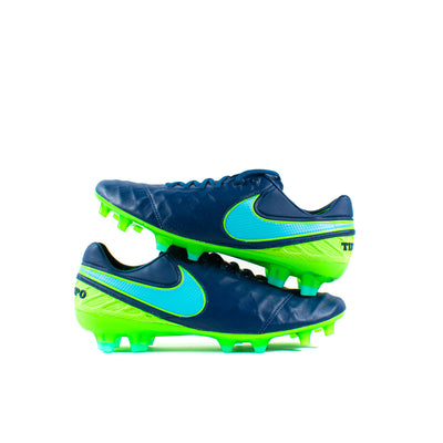 Nike Tiempo Legend VI Navy Green FG - Classic Soccer Cleats