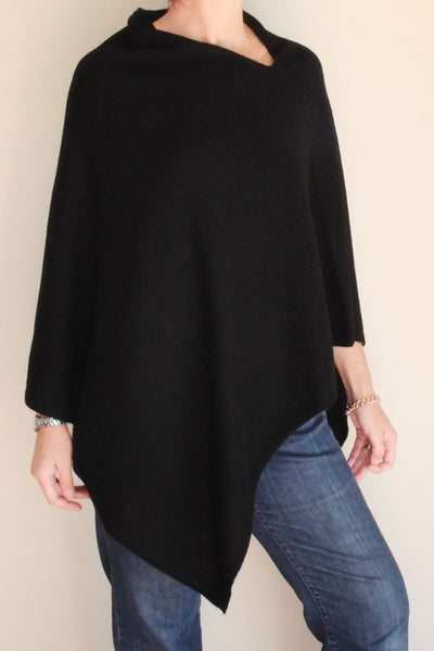 Black Cashmere Poncho by Inspired 2 Give front view