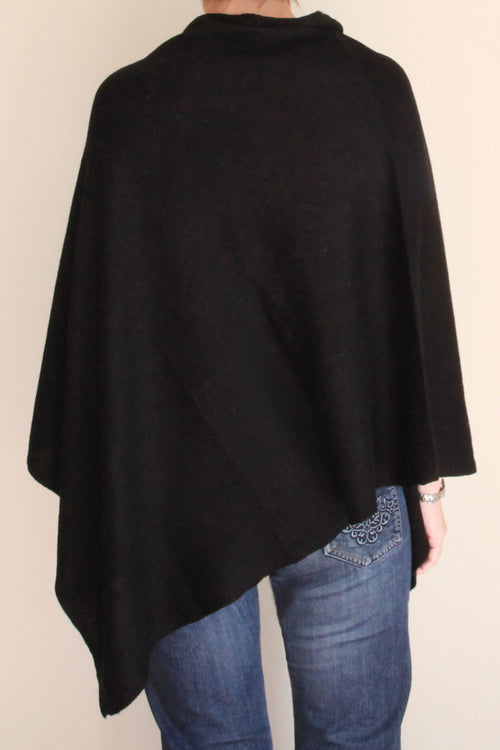 Black Cashmere Poncho by Inspired 2 Give back view