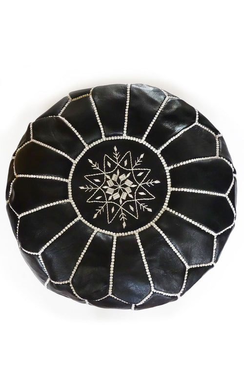 Black leather Moroccan Ottoman Pouf by Inspired 2 Give