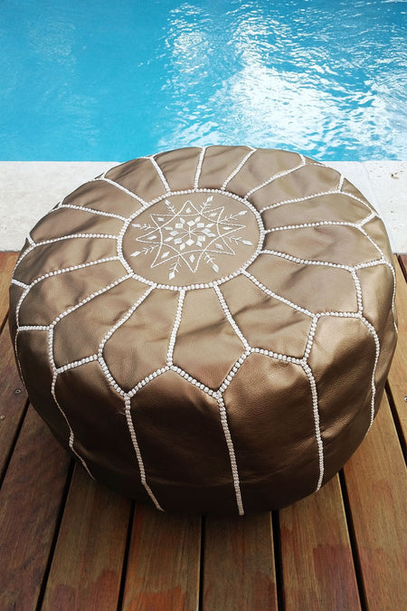 MOROCCAN LEATHER POUF | OTTOMAN - WHITE/BLACK