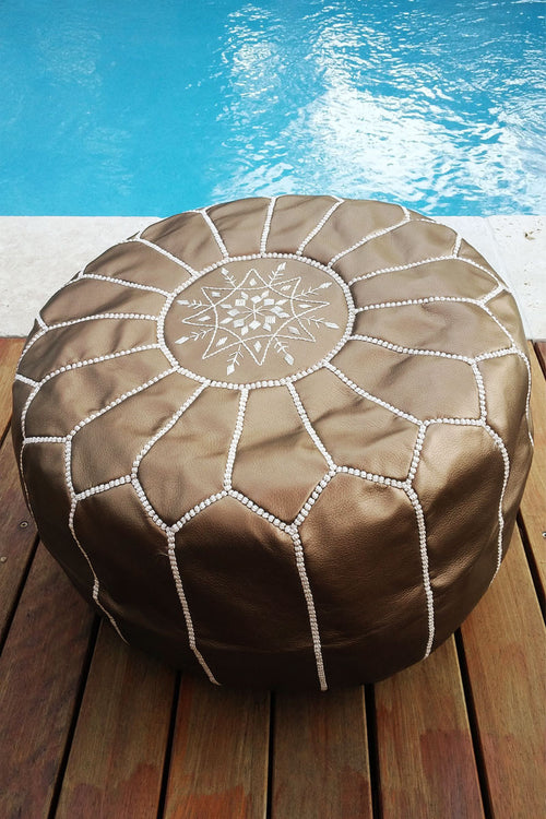 Bronze leather Moroccan Ottoman Pouf by Inspired 2 Give