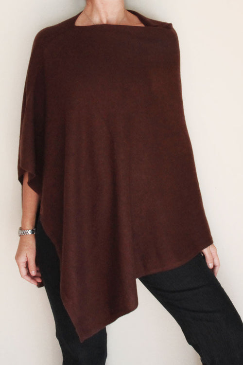 Chocolate Cashmere Poncho by Inspired 2 Give front view