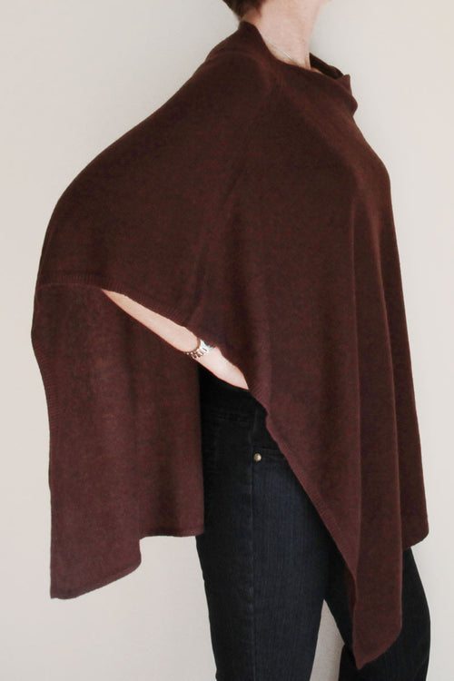 Chocolate Cashmere Poncho by Inspired 2 Give side view