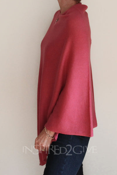 Coral Pink Poncho Inspired 2 Give