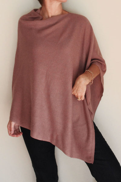 Dusty Pink Cashmere Poncho by Inspired 2 Give front