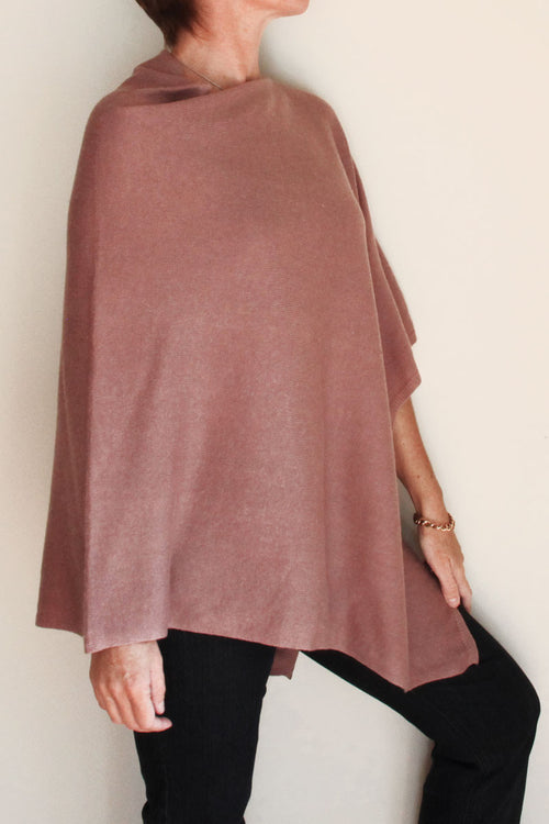 Dusty Pink Cashmere Poncho by Inspired 2 Give side
