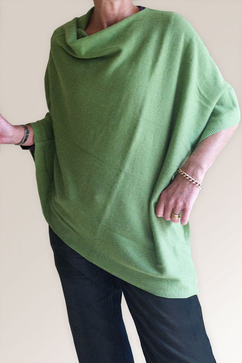 Grass Green Cashmere Poncho by Inspired 2 Give front