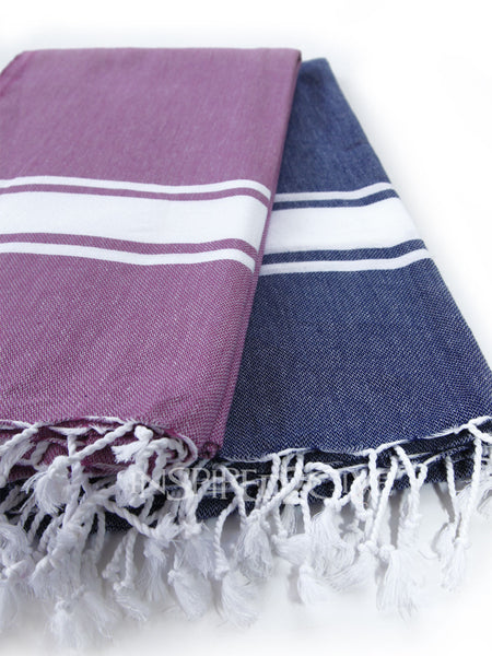Purple/Navy Band Turkish Towels by Inspired2give.com.au