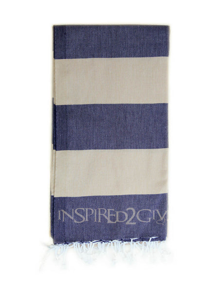 Navy Beige Stripe Turkish Towel - Inspired2Give.com.au