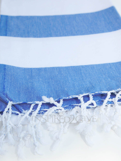 Blue White Stripe Turkish Towel - Inspired2Give.com.au
