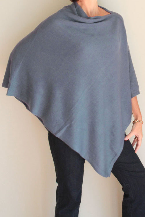 Mid Blue Cashmere Poncho by Inspired 2 Give, front