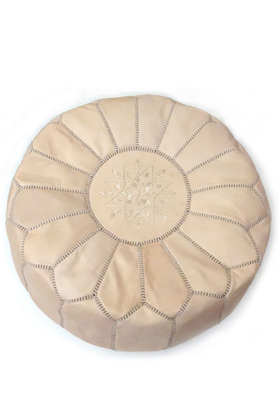Natural leather Moroccan Ottoman Pouf by Inspired 2 Give