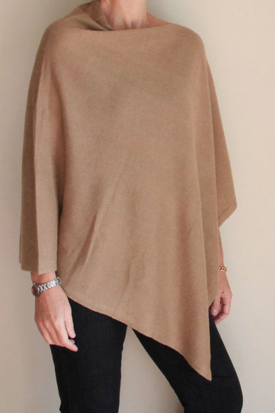 Oatmeal Cashmere Poncho by Inspired 2 Give, front