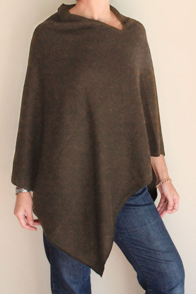 Olive Cashmere Poncho by Inspired 2 Give, front
